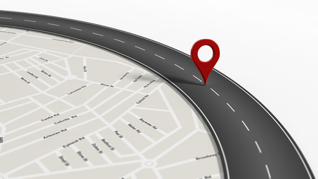 red  pointer: Map with zoom on road with turn and big red pointer, isolated on white background. Stock Photo