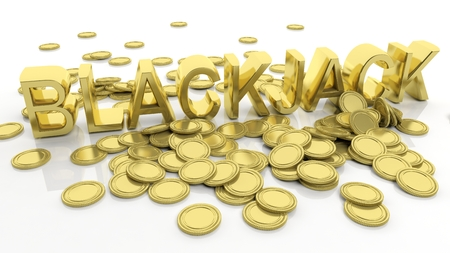 blackjack: Pile of golden coins and word Blackjack, isolated on white background.