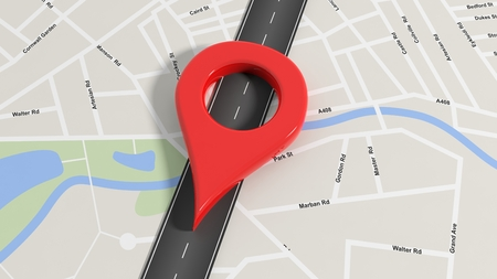 red  pointer: Map with zoom on road with big red pointer Stock Photo