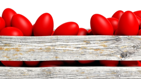 Red painted Easter eggs in wooden container, isolated on white.