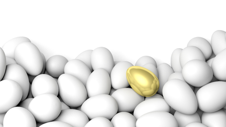 tresure: White eggs and one golden, isolated on white with copy-space Stock Photo