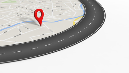 red  pointer: Map with zoom on road with turn and big red pointer, isolated on white with copy-space