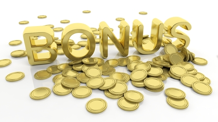 Pile of golden coins and word Bonus, isolated on white background. Stock Photo