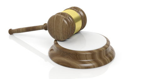 accused: Illustration of wooden court hammer on white background Stock Photo