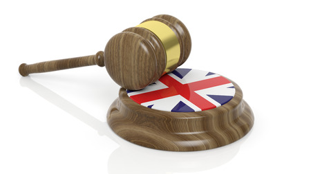 accused: Court hammer with flag of Great Britain on white background Stock Photo
