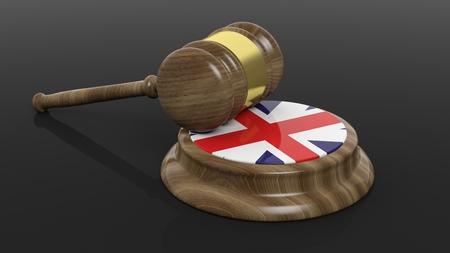 criminal case: Court hammer with flag of United Kingdom on black background