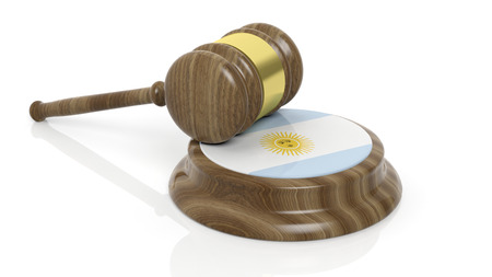 accused: Flag of Argentina and court hammer on white background Stock Photo