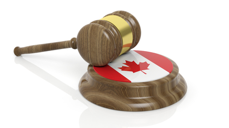 canadian flag: Canadian flag with court hammer on white background Stock Photo