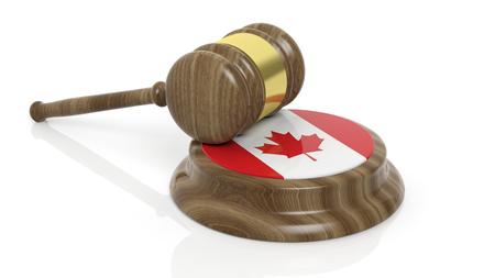 Kanadische Flagge mit Gericht Hammer auf weißem Hintergrund