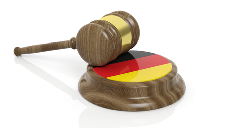 accuse: Flag of Germany and court hammer on white background