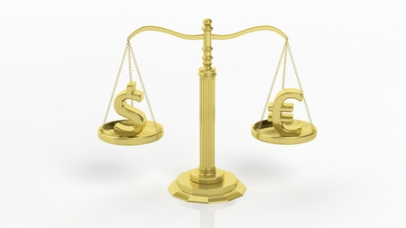 golden symbols: Illustration of golden scales of justice with euro and dollar symbols