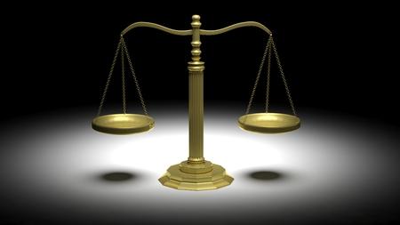 illuminated: Illuminated golden scales of justice on black background Stock Photo