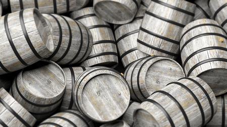 closeup: Pile of wooden barrels in close-up