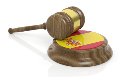 criminal case: Court hammer and flag of Spain on white background