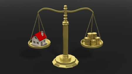 Real estate and pile of golden coins on scales of justice. Black background.
