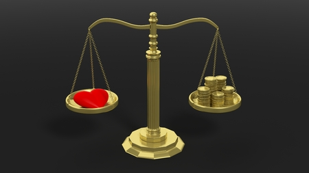 priceless: Golden scales balancing with pile of coins and red heart against of black background