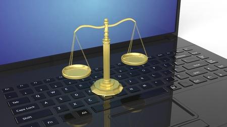 justicia: Primer plano de la balanza de oro tridimensionales de la justicia del teclado del ordenador portátil