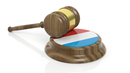 dutch: Court hammer with Dutch flag on white background