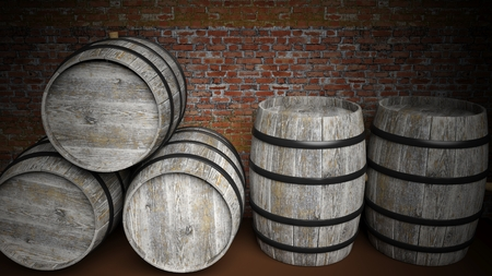 red brick: Five grey wooden barrels against of red brick wall
