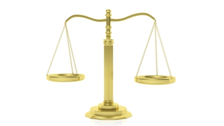 jurisdiction: Isolated golden scales of justice against of white background