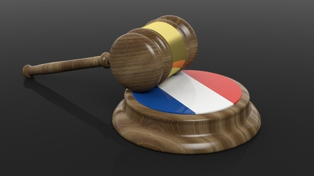 french flag: Court hammer with French flag on black background