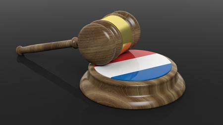 criminal case: Court hammer with Luxembourg flag on black background Stock Photo