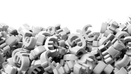 heap: Heap of white euro symbol Stock Photo