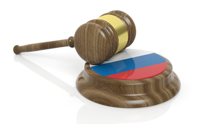 criminal case: Court hammer with flag of Russia on white background
