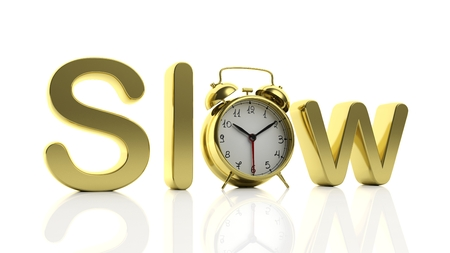 slow: 3D golden word Slow with alarm clock as letter O, isolated on white background.