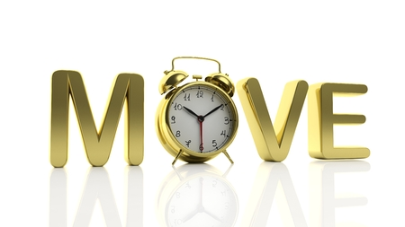 move: 3D golden word Move with alarm clock as letter O, isolated on white background.