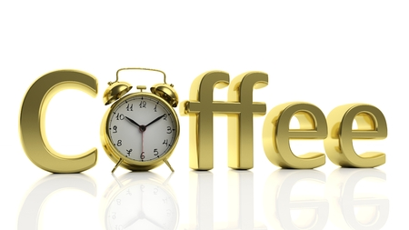 coffee hour: 3D golden word Coffee with alarm clock as letter O, isolated on white background. Stock Photo