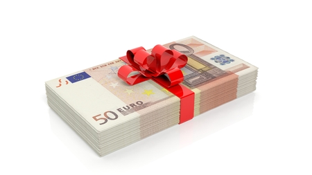 50 euro: Euro banknotes of 50 stack with red ribbon, isolated on white background
