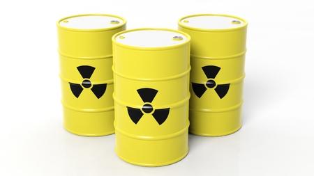 plutonium: Yellow barrels for radioactive biohazard waste, isolated on white background Stock Photo