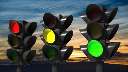 signals: Traffic lights, with sunset sky background