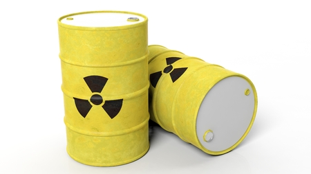 Yellow barrels for radioactive biohazard waste, isolated on white background Foto de archivo