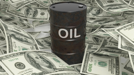 factura: 3D black oil drum set on dollar banknotes pile