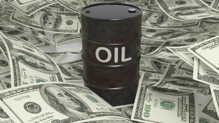 dollaro: tamburo di olio nero 3D impostato su banconote in dollari mucchio