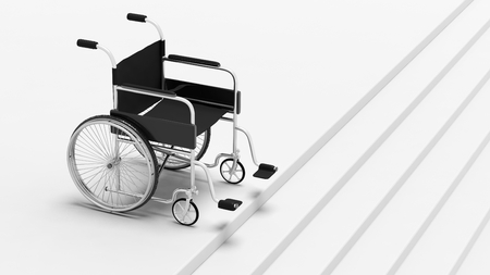 metallic stairs: Black disability wheelchair, in front of stairs.