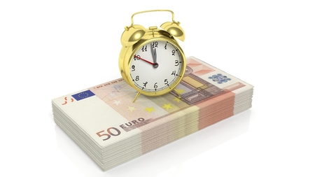 accounts: Alarm clock set on stack of 50 euro banknotes , isolated on white background