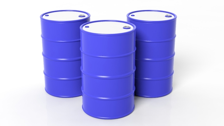 benzene: Three 3D blue drumsbarrels ,isolated on white background Stock Photo