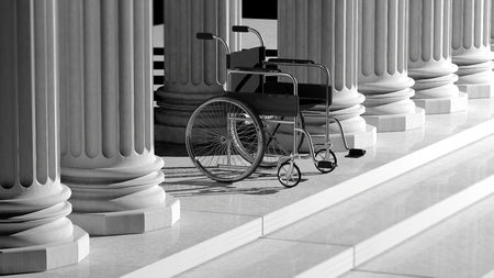 disability: Black disability wheelchair, with ancient pillars as background