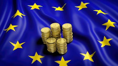 Flagge der Europäischen Union mit goldenen Bitcoin-Stacks. 3D-Rendering Standard-Bild