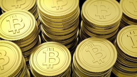 3D rendering of golden Bitcoin stacks closeup background