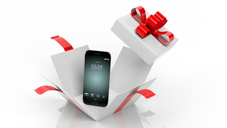 3D rendering of smartphone and opened giftbox with red ribbon,isolated on white background