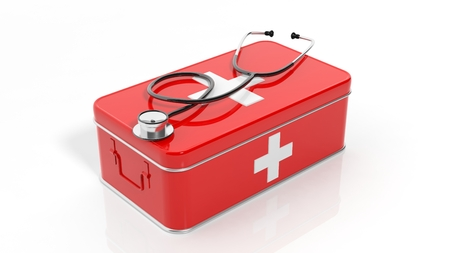 first aid box: 3D rendering of first aid kit and stethoscope, isolated on white background. Stock Photo