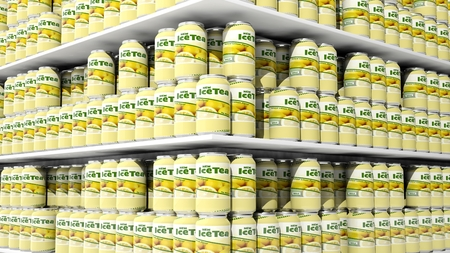 merchandise mart: 3D rendering with closeup on supermarket shelves with ice tea cans. Stock Photo
