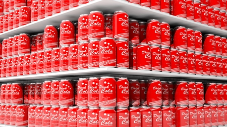 merchandise mart: 3D rendering with closeup on supermarket shelves with cola cans.