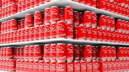 cola canette: Rendu 3D avec gros plan sur les tablettes des supermarchés avec des canettes de cola.
