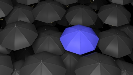 season specific: 3D rendering of classic large black umbrellas tops with one blue standing out.