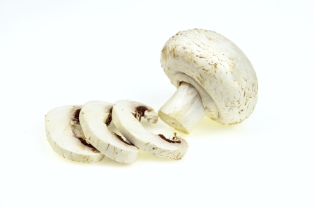 button mushroom: Button mushroom with some slices, on white background